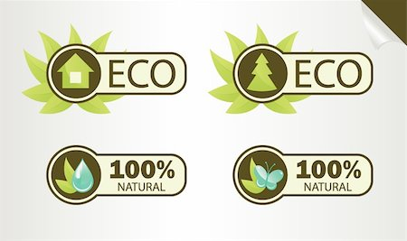 Natural and Eco Labels, vector illustration EPS 8 Stock Photo - Budget Royalty-Free & Subscription, Code: 400-04291951