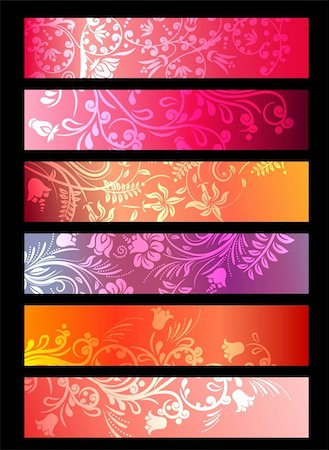 Red horizontal floral ornate banners with stylized plants Stock Photo - Budget Royalty-Free & Subscription, Code: 400-04292217