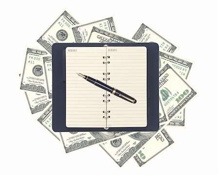 education loan - American dollars and opened notebook with pen isolated on white Stock Photo - Budget Royalty-Free & Subscription, Code: 400-04292298