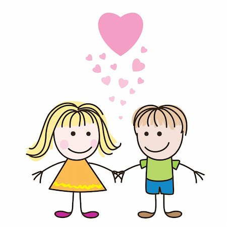 Vector illustration of cute Valentine's Day heart with boy and girl Stock Photo - Budget Royalty-Free & Subscription, Code: 400-04292385