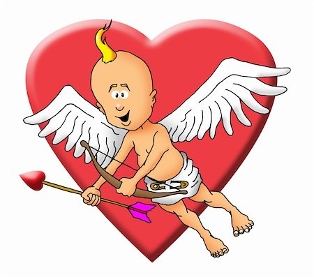 flying hearts clip art - Image of a cupid with a bow and an arrow. Stock Photo - Budget Royalty-Free & Subscription, Code: 400-04293203
