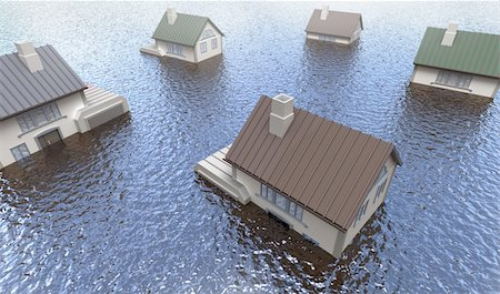 flooded homes - Flooded homes. 3D image Stock Photo - Budget Royalty-Free & Subscription, Code: 400-04293492