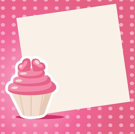 Vintage cupcake background with place for your text Stock Photo - Budget Royalty-Free & Subscription, Code: 400-04293530