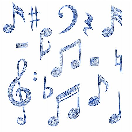 Sketched drawings of musical symbols (vector) Stock Photo - Budget Royalty-Free & Subscription, Code: 400-04304087