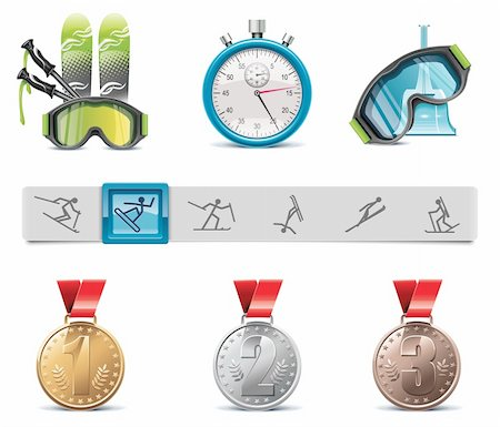 Set of the skiing sports related icons Stock Photo - Budget Royalty-Free & Subscription, Code: 400-04304511
