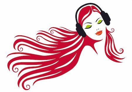 female lips drawing - woman with beautiful hair and headphones, vector illustration Stock Photo - Budget Royalty-Free & Subscription, Code: 400-04304994