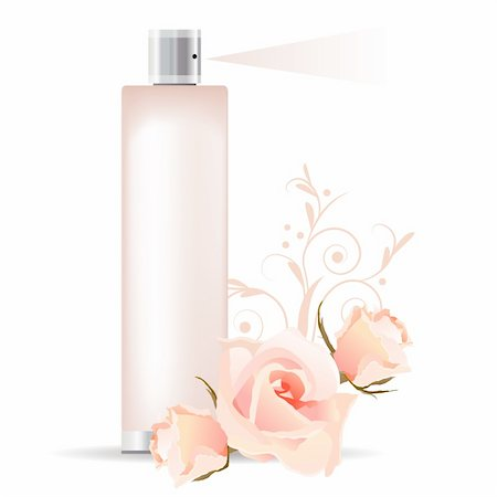 Transparent pink perfume container and three roses Stock Photo - Budget Royalty-Free & Subscription, Code: 400-04305901