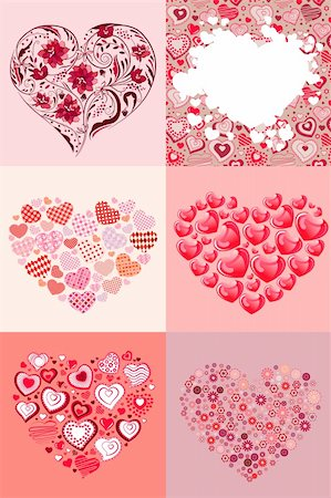 Modern collection of six different beautiful hearts Stock Photo - Budget Royalty-Free & Subscription, Code: 400-04306030