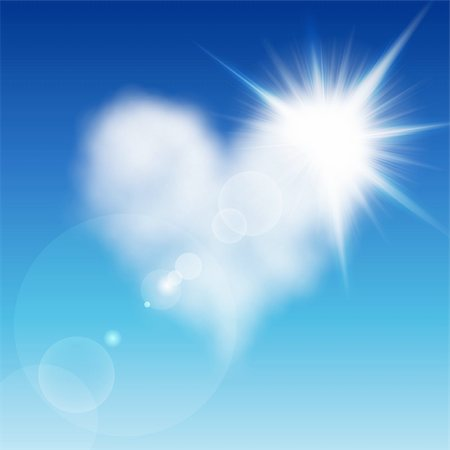 fly heart - Heart shaped cloud in the blue sky with sun after it. Valentine`s day illustration Stock Photo - Budget Royalty-Free & Subscription, Code: 400-04306032