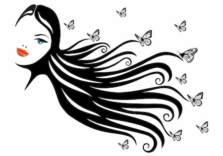 woman with black hair and butterflies, vector illustration Stock Photo - Budget Royalty-Free & Subscription, Code: 400-04306978