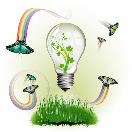 Light bulb for eco environmental concept Stock Photo - Budget Royalty-Free & Subscription, Code: 400-04307917