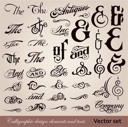 vector set: calligraphic vintage design elements and page decoration Stock Photo - Budget Royalty-Free & Subscription, Code: 400-04308193