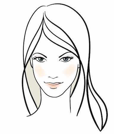 Beauty girl face. Hand-drawn fashion model. Vector illustration Stock Photo - Budget Royalty-Free & Subscription, Code: 400-04308410
