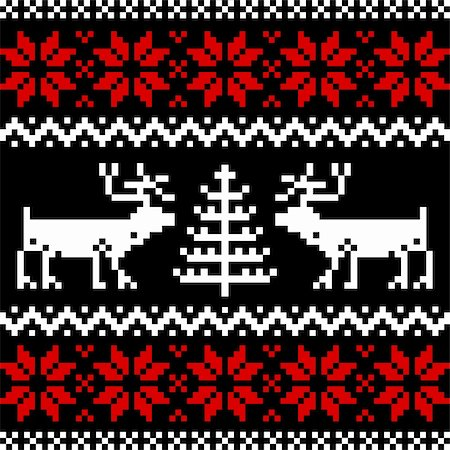 elakwasniewski (artist) - Collection of christmas knitting nordic pattern on black background. Stock Photo - Budget Royalty-Free & Subscription, Code: 400-04309001