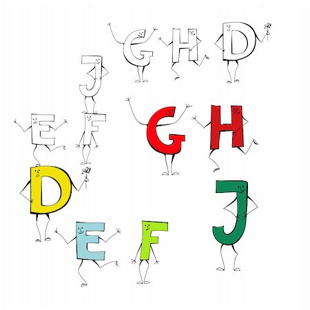 fancy letters - Set of cartoon style letters E, F, J, G, H, D Stock Photo - Budget Royalty-Free & Subscription, Code: 400-04309234