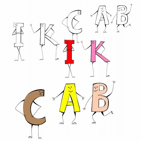 fancy letters - Set of cartoon style letters I, K, C, A, B Stock Photo - Budget Royalty-Free & Subscription, Code: 400-04309235