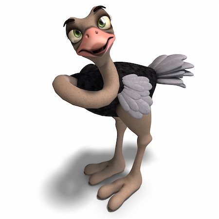cute toon ostrich gives so much fun. 3D rendering with clipping path and shadow over white Stock Photo - Budget Royalty-Free & Subscription, Code: 400-04309336