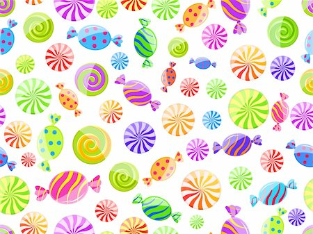 red circle lollipop - colorful striped candy seamless pattern on white background Stock Photo - Budget Royalty-Free & Subscription, Code: 400-04300017