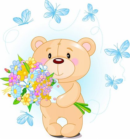 Blue Teddy Bear with flowers Stock Photo - Budget Royalty-Free & Subscription, Code: 400-04300101