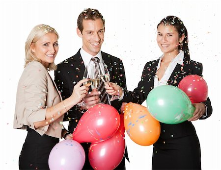 party celebration paper confetti - Business team selebrating success. Isolated on white Stock Photo - Budget Royalty-Free & Subscription, Code: 400-04300120