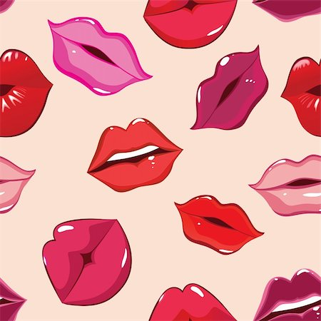 Seamless pattern, print of lips, vector illustration Stock Photo - Budget Royalty-Free & Subscription, Code: 400-04301065
