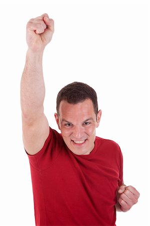 simsearch:400-04222950,k - Portrait of a happy  man with his arm raised, on white background. Studio shot Stock Photo - Budget Royalty-Free & Subscription, Code: 400-04302216