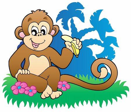 Monkey eating banana near palms - vector illustration. Stock Photo - Budget Royalty-Free & Subscription, Code: 400-04302425