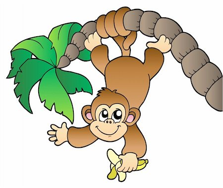 Monkey hanging on palm tree - vector illustration. Stock Photo - Budget Royalty-Free & Subscription, Code: 400-04302426