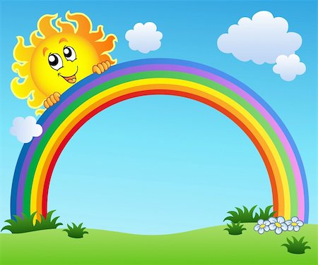 Sun holding rainbow on blue sky - vector illustration. Stock Photo - Budget Royalty-Free & Subscription, Code: 400-04302430