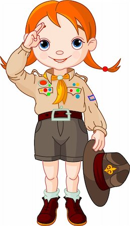 Young  happy boy scout girl doing a hand sign Stock Photo - Budget Royalty-Free & Subscription, Code: 400-04302725