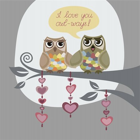 I love you always. Greeting card with two owls in love. This image is a vector illustration. Stock Photo - Budget Royalty-Free & Subscription, Code: 400-04302792