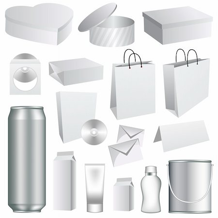 Blank dummies packaging templates collection. Set of white paper stationery elements. Stock Photo - Budget Royalty-Free & Subscription, Code: 400-04303065