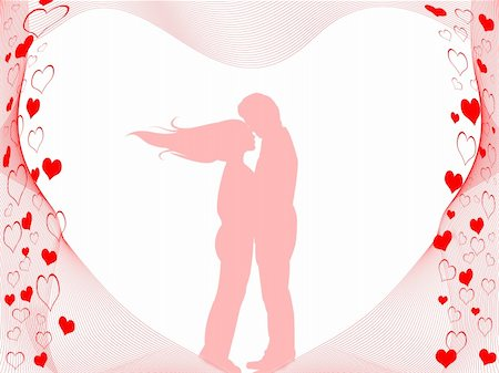 simsearch:400-04863562,k - Background with Silhouettes of kissing couple Stock Photo - Budget Royalty-Free & Subscription, Code: 400-04303704