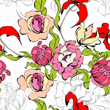 peony design vector - Seamless wallpaper with peony flowers Stock Photo - Budget Royalty-Free & Subscription, Code: 400-04303772