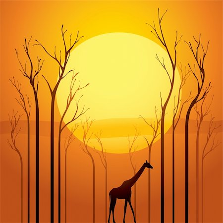 Trees went dried, a survivor walking through the tranquil sunset scene.  Symbolized global warming. Stock Photo - Budget Royalty-Free & Subscription, Code: 400-04314082