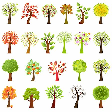 flower clipart paint - Collection Of Trees, Isolated On White Background, Vector Illustration Stock Photo - Budget Royalty-Free & Subscription, Code: 400-04314283