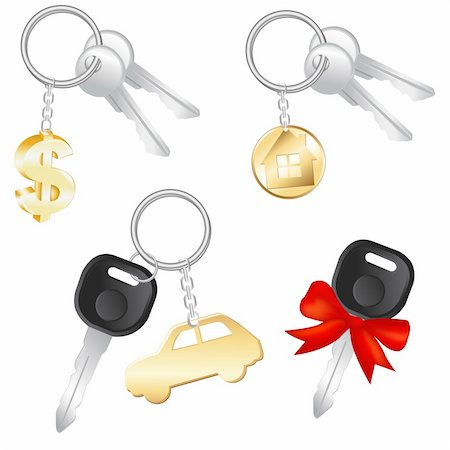 Set Of Keys With Charm In Form Of Dollar, Car And House, Isolated On White Background, Vector Illustration Stock Photo - Budget Royalty-Free & Subscription, Code: 400-04314378