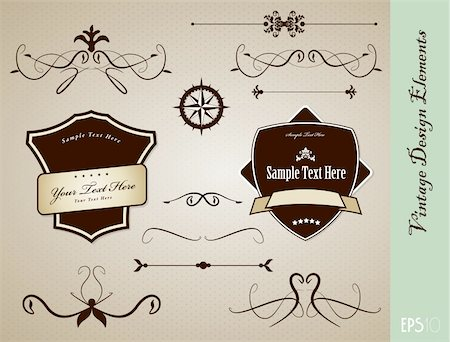 Set of vintage design elements. Stock Photo - Budget Royalty-Free & Subscription, Code: 400-04314459