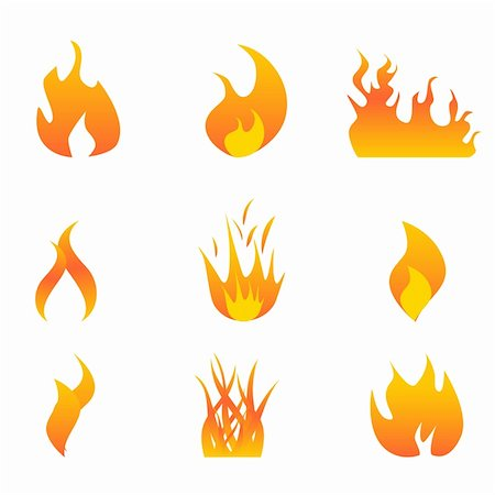 spark vector - Various hot flames icon set Stock Photo - Budget Royalty-Free & Subscription, Code: 400-04314523