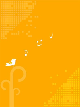 Adorable bird singing music notes Stock Photo - Budget Royalty-Free & Subscription, Code: 400-04314539