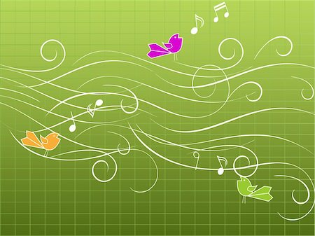 Musical birds singing on stave Stock Photo - Budget Royalty-Free & Subscription, Code: 400-04314553