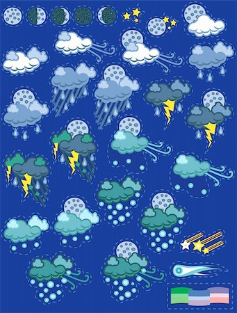 A set of weather icons in a fun patch style.    EPS8 graphic is scalable to any size. Stock Photo - Budget Royalty-Free & Subscription, Code: 400-04314581