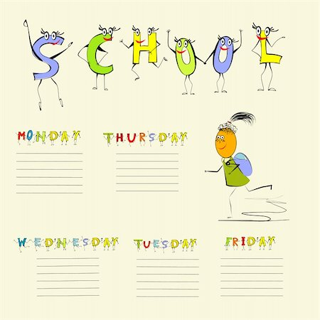 fancy letters - Template for school schedule Stock Photo - Budget Royalty-Free & Subscription, Code: 400-04314665