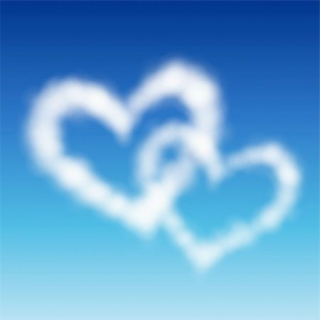 fly heart - Two heart shaped clouds in the blue sky. Valentine`s day illustration Stock Photo - Budget Royalty-Free & Subscription, Code: 400-04314873