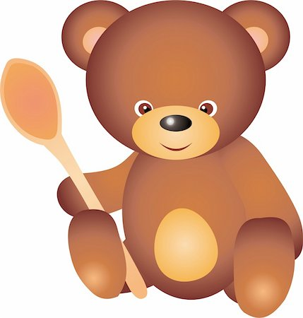 simsearch:400-04598294,k - teddy bear with spoon. Isolated on white background. Vector Stock Photo - Budget Royalty-Free & Subscription, Code: 400-04315137