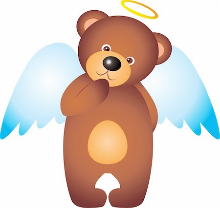 simsearch:400-04598294,k - teddy bear Angel isolated on white background. Vector Stock Photo - Budget Royalty-Free & Subscription, Code: 400-04315138