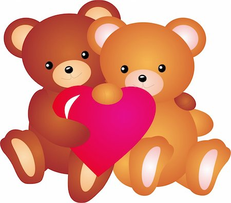 simsearch:400-04598294,k - teddy bear with Heart. Isolated on white background. Vector Stock Photo - Budget Royalty-Free & Subscription, Code: 400-04315139