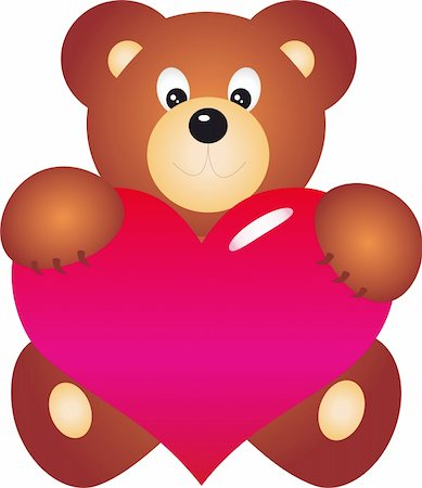 simsearch:400-04598294,k - teddy bear with Heart. Isolated on white background. Vector Stock Photo - Budget Royalty-Free & Subscription, Code: 400-04315140