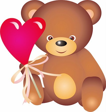 simsearch:400-04598294,k - teddy bear with Heart. Isolated on white background. Vector Stock Photo - Budget Royalty-Free & Subscription, Code: 400-04315141