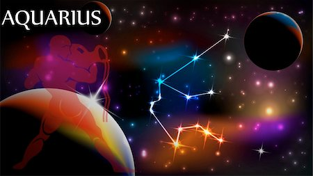 pokerman (artist) - Aquarius - Space Scene with Astrological Sign and copy space Stock Photo - Budget Royalty-Free & Subscription, Code: 400-04315448